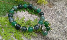Green stretch bracelet, green gemstone bracelet, nature inspired bracelet, Boho stacking bracelet, green crystals, Moss Agate bracelet, by CrystalHartandSoul on Etsy