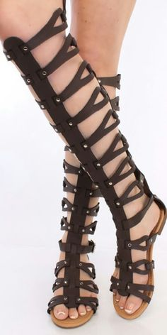 001c2a9b1 New Brown gladiator sandals Faux dark brown leather upper gladiator with  zipper closure in the back