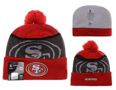 Mens   Womens San Francisco 49ers New Era NFL Gold Collection Team Color  LIQUIDCHROME Logo Cuff Knit Beanie Hat With Pom - Red   Graphite bd7adc89b