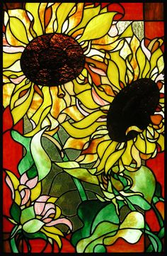 Sunflowers Stained Glass Panel by TheGlassPeacock on Etsy, $300.00