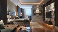 chambre cosy parement-mural-effet-brique-panneau-déceraitf-3d-lit-capitonné-gris