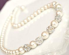 Elfenbein Hochzeit Perlen Collier, Perlenkette Braut, Hochzeit Schmuck, Brautschmuck