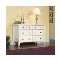 Dresser With 6 Drawers Double Furniture Bedroom Clothes Storage Organizer Knobs #SauderShoalCreek #Modern