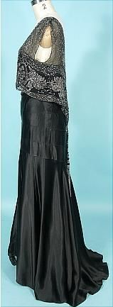 c. 1930's Black Silk Charmeuse Bias Cut Gown with Beaded Net Bodice! Museum Deaccession (side)