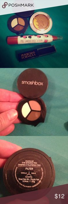 """Beauty Lot 😍💋♥️🌈🍒🍓 Beauty Lot 😍💋♥️🌈🍒🍓-smashbox shadow trio in vanilla, sable, & Sumatra, physicians formula black/glitter eyeliner, pbj smoothie stick and Pacifica """"sunkissed"""" bronzer. All are new-only swatched 1 color in smash box shadow trio and searched eyeliner-fun lil glam set! 💎👄 Smashbox Makeup Bronzer"""