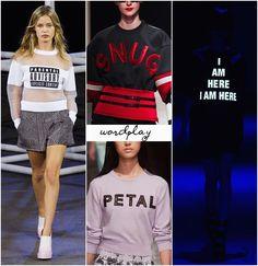 Spring 2014 trend: statement slogans & lettering. #fashion #spring2014 #fashiontrends
