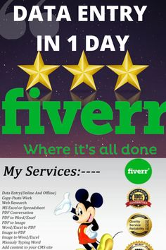 Fiverr freelancer will provide Data Entry services and be your ideal virtual assistant for data entry, data mining, web research jobs including Hours of Work within 1 day Social Media Research, Web Research, Data Entry Projects, Liverpool Life, Do Perfect, Time Management Skills, Virtual Assistant Services, Data Processing, Data Recovery