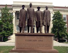 """Greensboro Four Monument.""Jibreel Khazan (then known as Ezell Blair Jr.), Franklin McCain, Joseph McNeil and David Richmond Woolsworth Sit-In --Greensboro, NC-- James Barnhill African American Genealogy, African American History, Greensboro Four, Civil Rights Movement, Online Programs, Black History Month, North Carolina, February, State University"