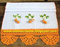 Elaine Croche: Panos de Prato com Frutinhas e Barrados em Crochê