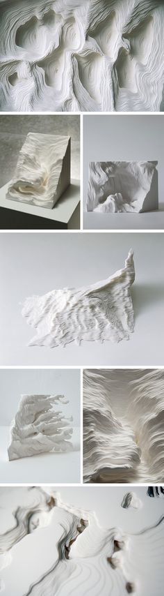 Click for more pics! | Topographic Paper Landscapes by Noriko Ambe #paperart