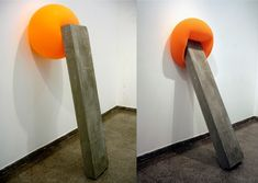 Túlio Pinto: Time - 31 Day Cycle, 2010. Sculpture, concrete block, and balloon. 170 x 50 x 80 cm. Series 1/3. Art Museum of Piracicaba, Brazil. Photo credit: Courtesy of the artist and Julio Garbellini.