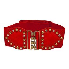 Plus Size Rhinestone Studded Elastic Belt Red - One Size Plus eVogues Apparel. $11.99