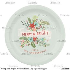 Merry and Bright Modern Floral Holiday Plates  sc 1 st  Pinterest & Peace and love personalised paper plates   Custom CHRISTMAS Paper ...