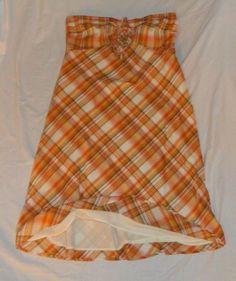 Ann Taylor Loft Strapless A-Line Sun Dress plaid lined cotton 12 #AnnTaylorLOFT #Sundress