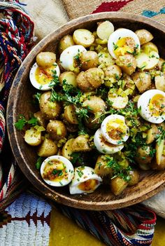 Potato Salad with Seven Minute Eggs and Mustard Vinaigrette. salad and potato salad: Unite! We like how the still-soft yolks dress the salad Vegetarian Recipes, Cooking Recipes, Healthy Recipes, Side Recipes, Steak Recipes, Dishes Recipes, Roast Recipes, Vegan Meals, Shrimp Recipes