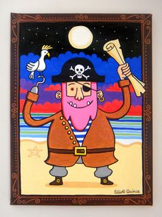Pinkbeard the pirate by Elliott Quince, via Behance Fallout Vault, To My Daughter, Behance, Baseball Cards, Illustration, Painting, Fictional Characters, Art, Pirates