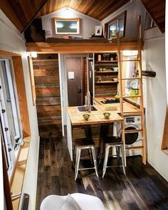A 273 square foot Tiny Home❤️ Tag someone who might love this ⬇️ built by: Green Leaf Tiny Homes • • #tinyhousemovement #tinyhouse #simpleliving #smallhouse #cabin #cottage #apple #mac #simple #beautiful #interior #interiordesign #design #architecture #kitchen #housegoals #cargoals #travel #traveling #travelgoals #minimalist #minimal #minimalism #simplelife: