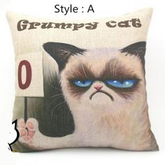 Grumpy cat decorative pillows for couch Linen