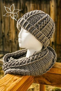 MNE Crafts: Braids & Cables Beanie & Cowl Set - like the cable in the scarf. video too.
