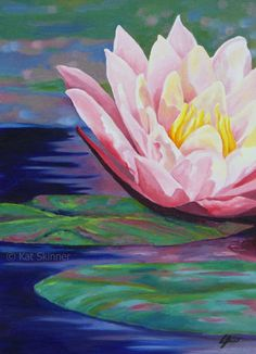 Lilies Drawing, Water Lilies Painting, Lily Painting, Watercolor Water, Easy Canvas Painting, Watercolour Flowers, Drawing Flowers, Easter Paintings, Colorful Paintings