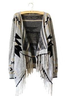 Light Grey Tribal Geometrical Pattern Fringe Cardigan