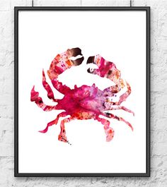 Red crab painting - watercolor art - colorful art print - archival print - sea animal painting on Etsy, $15.00