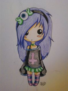 Cute Chibi pastel goth girl ^^