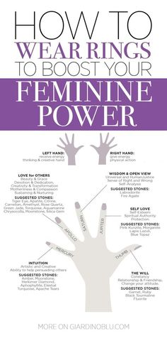 How to wear ring to boost your feminine power accordingly with finger meaning and symbolism How to wear Crystal Rings cheat sheet to enhance your feminine power Feminine Energy, Divine Feminine, How To Be Feminine, Crystals And Gemstones, Stones And Crystals, Rings With Meaning, Ring Finger Meaning, Gem Meaning, Life Hacks