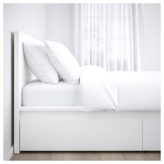 IKEA - MALM, High bed storage boxes, white, Ample storage space is hidden neatly under the bed in 4 large drawers. Perfect for storing quilts, pillows and bed linen. The storage boxes are easy to roll out and in thanks to the castors on the base. Bed Frame With Storage, Under Bed Storage, Storage Boxes, Ikea Beds With Storage, Tv Storage, Storage Drawers, Storage Ideas, High Bed Frame, Malm Bed Frame