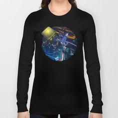 Tardis doctor who Flying at modern starry night LONG SLEEVE T-SHIRT #longsleeve #tee #tshirt #clothing #painting #watercolor #ink #3d #illustration #comic #tardisdoctorwho #doctorwho #davidtennant #publiccallbox #phonebox #starrynight #vangogh #scifi #neonlights