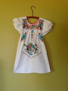 Vintage girls Mexican peasant dress 1980's embroidered boho tunic 5