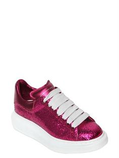 alexander mcqueen - women - sneakers - 40mm glitter & metallic leather sneakers