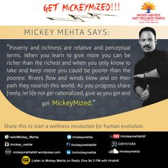 """#GetMickeyMized:   """"As you progress share freely, let #life not get rationalized, give as you get and get #MickeyMized.""""  Share this to start a #wellness revolution for human evolution. #quote #MickeyMehta"""