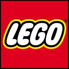 Logo van Lego ondermeer witte letters met een tint geel randje en een hemelroodse achtergrond