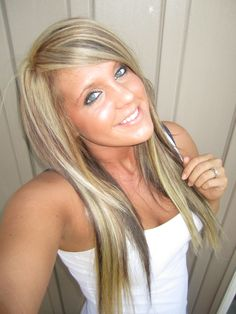 Blonde highlights and low lights. Think this might be my next hair color. Love it!