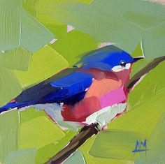Bluebird núm. 43 Ave pintura al óleo originales por Angela Moulton 5 x 5 pulgadas de panel prattcreekart