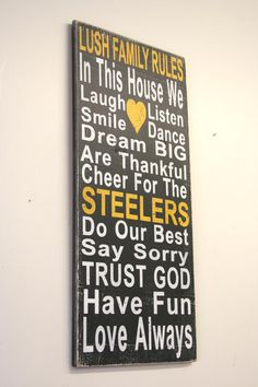 Steelers Distressed Wood Sign Family Rules by RusticlyInspired