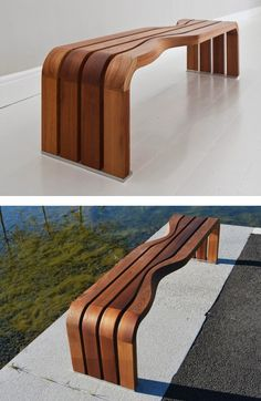 DIALOG #bench by VESTRE | #design Allan Hagerup, Einar Smette #wood Reclaimed Wood Furniture, Steel Furniture, Farmhouse Furniture, Shabby Chic Furniture, Furniture Projects, Diy Furniture, Furniture Design, Outdoor Furniture, Scandinavian Furniture