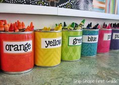 crayon cups - good idea to presort...then when we need a particular color we can grab it quickly