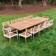 to Large Teak Outdoor Dining Table and Chairs