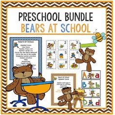 Preschool Bundle Bears at SchoolAlphabet traceline traceNumber trace 1-25number cards 1-25Circle what is differentcircle the one in the middletelephone number practicescissor practice/mazeSequencing/puppet sticksBears at school alphabet cardsupper and lowercase matchsequencing/large puzzlesBears at school Backlines6 coloring pagesalphabet tracenumber trace2 pages trace the linesColor and matchMaze/circle the largestcircle what is different
