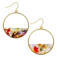Tortoise Shell Art Medium Multicolor Rainbow Round Stud Hoop 38mm Light Plastic Silver 925 Gold Titanium Earrings