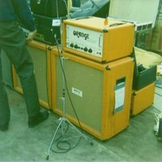 led zeppelin melbourne australia 1972 with orange ORMAT 200 1/2 stack and marshall 100 watt & orange 4x12 cabinets.