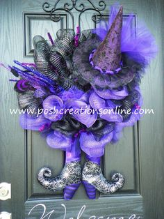 Halloween Diva Witch Wreath Purpleand Black Diva TuTu Witch Hat & Boots XXL.