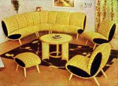 A display of the Wagner Company - Elegant upholstered dollhouse furniture in a magazine ad in 1957