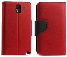 myLife Lava Red + Deep Black {Professional Design} Faux Leather (Card, Cash and ID Holder + Magnetic Closing) Slim Wallet for Galaxy Note 3 ...