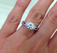 "Kirk Kara ""Dahlia"" Marquise Shaped Purple Amethyst Side Stone Diamond Engagement Ring"
