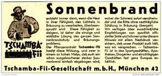 Original-Werbung/ Anzeige 1939 - SONNENBRAND / PFLANZENEXTRAKT TSCHAMBA-FII - MÜNCHEN - ca. 140 x 60 mm