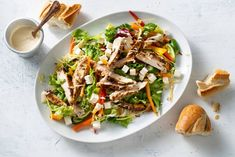 Mediterrane salade met kruidige kip en hummusdressing - Recept - Allerhande Meat Salad, Good Mood, Lunches, Hummus, Buffet, Salads, Keto, Healthy Recipes, Cooking