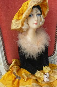 Antique French Boudoir Doll Paris 1920 RARE Fashion Doll Silk Hat | eBay